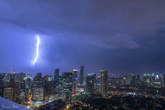Weather forecast - More Lightning (Sumarie Slabber) Tags: weather philippines manila sumarieslabber clouds lightning cityscape nightlife lights buildings night sky bolts storm stormy