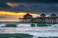 Huntington Beach Pier (explored) (meeyak) Tags: hb hbpier huntingtonbeach huntington beach pier ocean sea seascape landscape waves clouds cloudy sunset meeyak sony a6000 28mm 55mm surf surfing surfer art oc orangecounty california travel vacation outdoors adventure