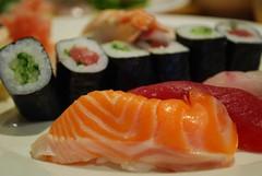 Salmon nigiri sushi - Shira Nui AUD18 special ...