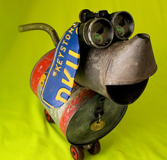 SNOOTY - A Family Friend Robot Dog - Reclaim2Fame (Reclaim2Fame) Tags: sculpture dog tin robot recycled assemblage mixedmedia cartoon moviestar characters foundobject robotdog tincan reclamation cartooncharacters greendesign recycledmaterial robotassemblage robotsculpture vintageobjects greensculpture reclamationart
