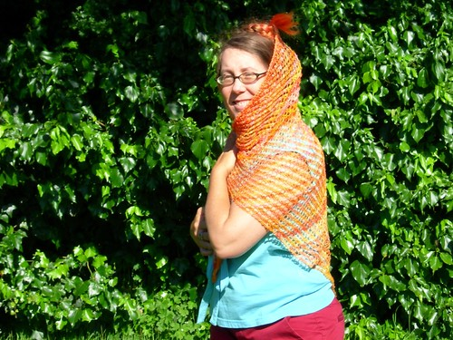 Silly Velma in her new shawl