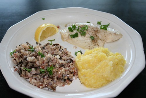 P90x Lemon Parsley Tilapia with Wild Rice and Squash
