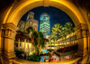 A fisheye view in Singapore - The courtyard in Raffles (MDSimages.com) Tags: city travel skyline architecture landscape nikon singapore asia nightshot hdr photomatix hdrsky michaelsteighner mdsimages