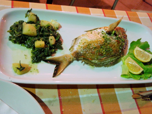 Grilled wild dorade with steamed chard and potatoes