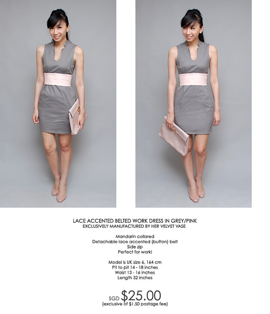 HERVELVETVASE lace accented belted workdress in greypink in L 34