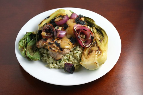 Grilled Asian Chicken with Bok Choy and Onion