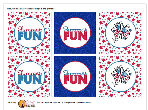 Red WHite & Blue Cupcake Toppers/Tags