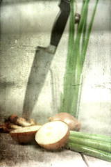 Natura morta (Gordana AM) Tags: life white ontario canada painterly green glass yellow vertical still knife natura onions windsor distressed morta layered texturized class2010 lepiafgeo