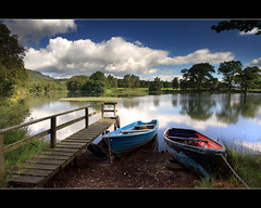 Boats & Summer Clouds - Stair Dam (angus clyne) Tags: trees light summer two sun fish home water field clouds forest boats scotland pier boat fly fishing pond oak calendar bright angus dam farm jetty hill perthshire deep scottish row cast shade rowing loch trout launch dunkeld far birnam clyne lochan 2011 shalow colorphotoaward stairdam