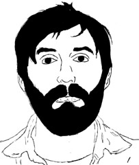 Oizo Face (for blog) (anotherclicheddesign) Tags: portrait blackandwhite illustration sketch linedrawing mroizo edbanger