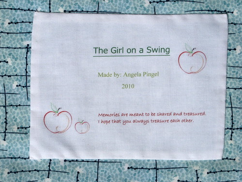 Label for girl on swing quilt