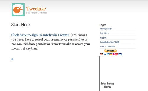 Social Media Backup Tools: Tweetake