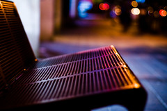 bench and traffic lights