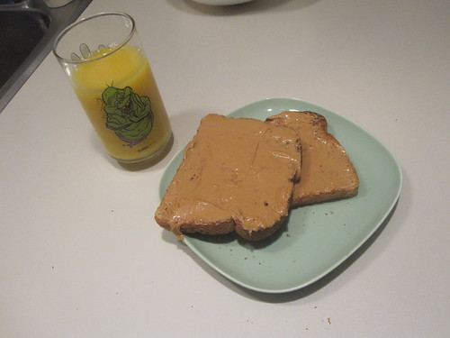 PB toasts and OJ