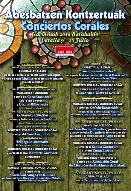 Cartel conciertos corales Carmenes de Barakaldo 2010