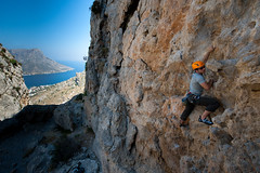 David Zuckerman - climbing Phineas 5C (Amicus Telemarkorum) Tags: blue sea sport greece rockclimbing 5c phineas kalymnos davidzuckerman advancedyetiphotography jeffreyrueppelphotography