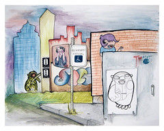 """""""On The Street"""" - watercolor/ink drawing"""