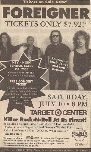 07/10/93 Foreigner/Chris Hawkey Band @ Minneapolis, MN (Ad)