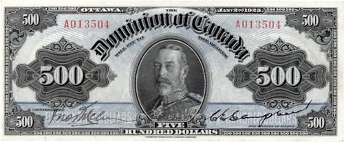 1925 Dominion of Canada $500