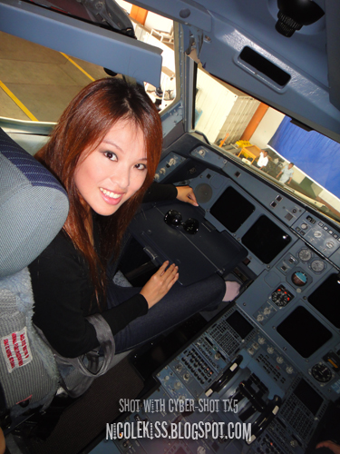 sitting in the cockpit