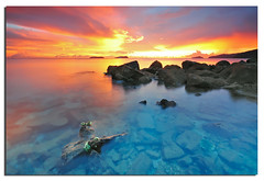 Colors After The Rain (Nora Carol) Tags: ocean red seascape coral clouds rocks colorful dusk lowtide sabah sigma1020mm amazingsunset sutera p121s nikond90 noracarol cokingndfilter p121l kotakinabalusunset sabahanphotographer womaninphotography nicesetsdarlingxo