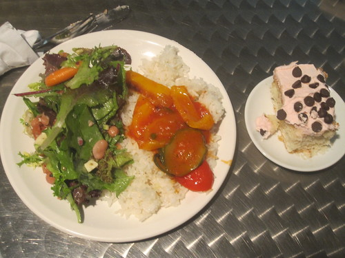 stir fry with tomato sauce, rice, salad, cake - free (working lunch)