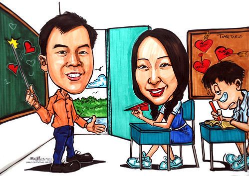 Teacher and student caricatures in a classroom