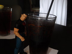 superboy, with coke (Joelk75) Tags: comics toy lunch actionfigure restaurant dc tn knoxville tennessee coke figure soda cocacola dccomics superboy teentitans gaystreet mikemckone swgrand