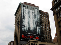 Inception Billboard 23rd Street and Park Avenue 6994 (Brechtbug) Tags: above park street new york city nyc windows building film water wall corner out movie poster flooding traffic cab taxi nolan christopher s billboard leonardo avenue cabs 23rd dicaprio gushing sized inception 7112010