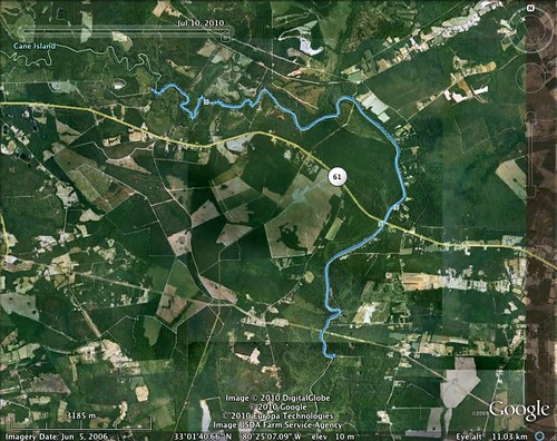 Edisto River paddling map - July 10, 2010