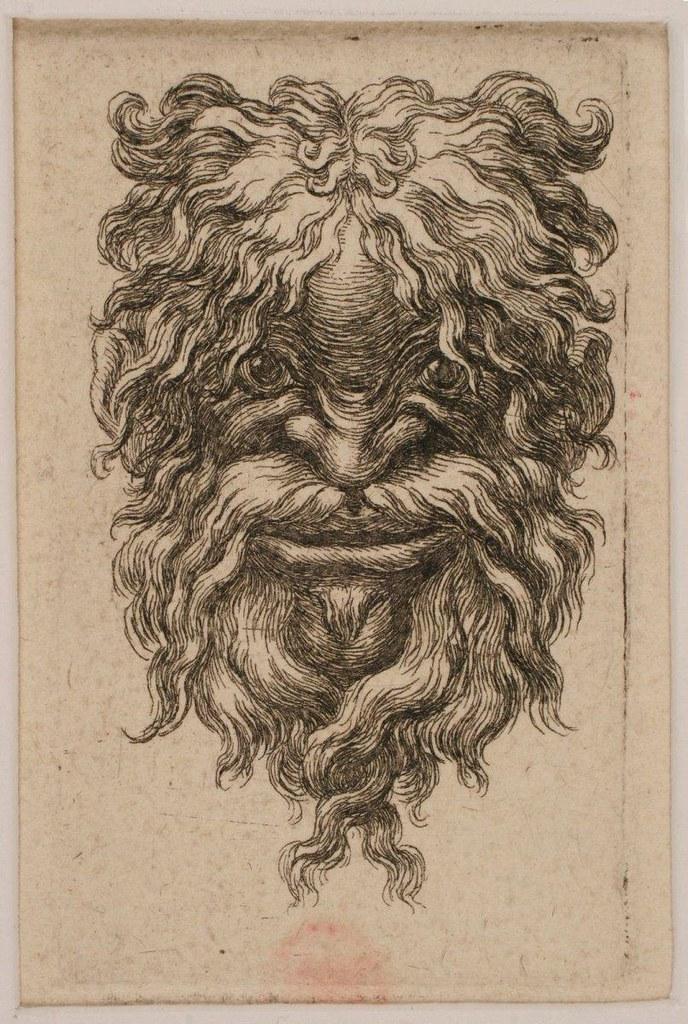 Tête chevelue et barbue d'un vieillard souriant