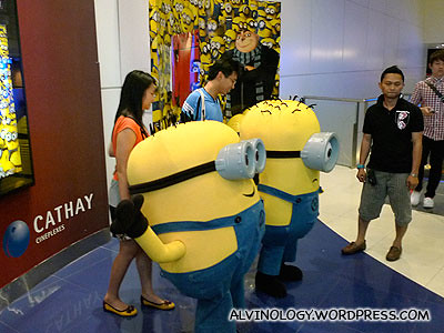 Two minions spotted at the movie preview at The Cathay