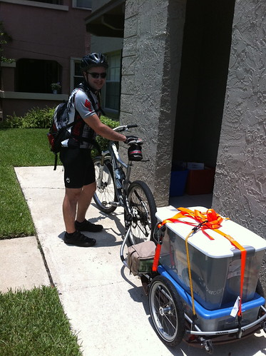 Camping Gear loaded on bike trailer