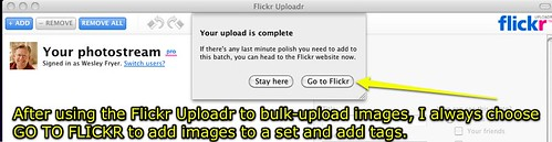 Flickr Uploadr upload is complete
