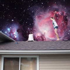 (lisa.aimee) Tags: pink blue roof brown house black green me window airplane stars french lights star spread stand purple arms buttons space shingles lisa jeans nebula sit blinds shorts 365 vest sight outer siding universe starry braid nebulae
