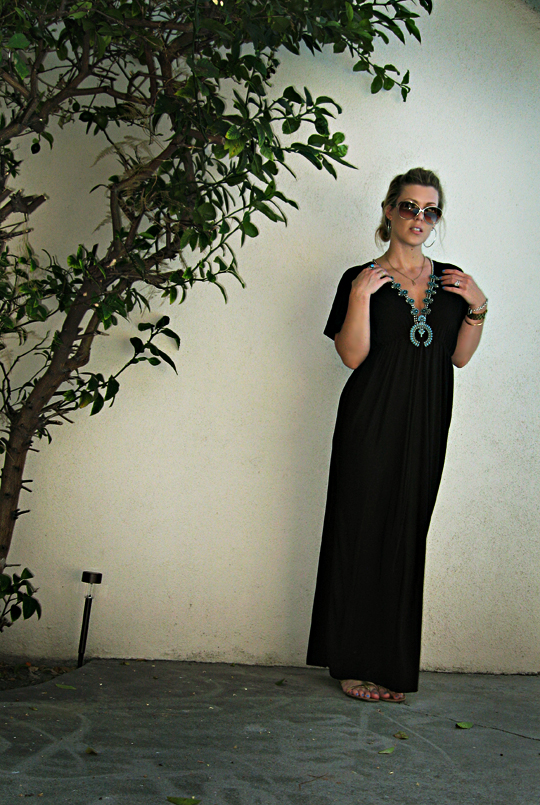 squash blossom necklace+black modern caftan