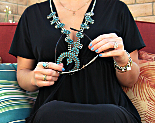 accessories+turquoise and gold and silver+squash blossom necklace