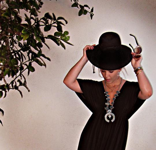 squash blossom necklace+sun hat+dark