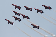 THE Red Arrows (Gen Frank) Tags: sky white horizontal canon outdoors photography fly flying unitedkingdom britain smoke nopeople airshow sideview redarrows areoplane gfp canoncamera formationflying colourimage genfrankphotography
