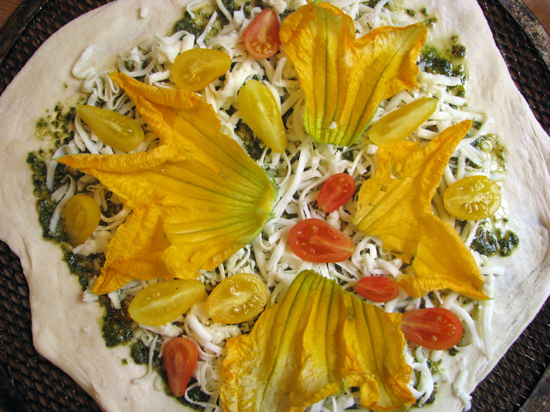 pizza: pear tomatoes, squash blossoms & basil two ways