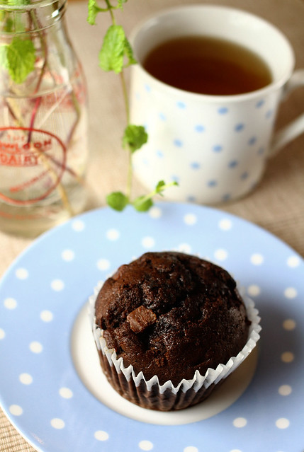 M&S Chocolate Muffin & Dilmah Mint Tea
