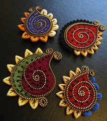 A few new Paisley brooches! (woolly  fabulous) Tags: green wool pin recycled brooch felt zipper paisley embroidered