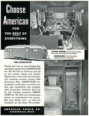 American Coach_tatteredandlost (T and L basement) Tags: travel ephemera rv 1949 traveltrailer recreationalvehicle vintagetrailermagazinead holidaymagazinead1949 americancoachtrailer