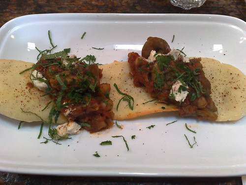 Moroccan mushroom harvest on flatbread with sumac goats' cheese