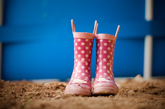 Pink Polka Dot Puddle Stompers  [] (Proleshi) Tags: pink blue brown 50mm shoes pattern dof earth hellokitty ground polka dot soil polkadots dots rainshoes d300s 50mm14afs proleshi