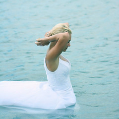 The Swan (Gordana AM) Tags: blue portrait woman lake ontario canada water girl hair square outdoors island bride swan long alone photoshoot availablelight walk jennifer side profile arc blues location blonde windsor romantic session gown elegant bridal float fearless amherstburg chickflick bablo trashthedress class2010 lepiafgeo