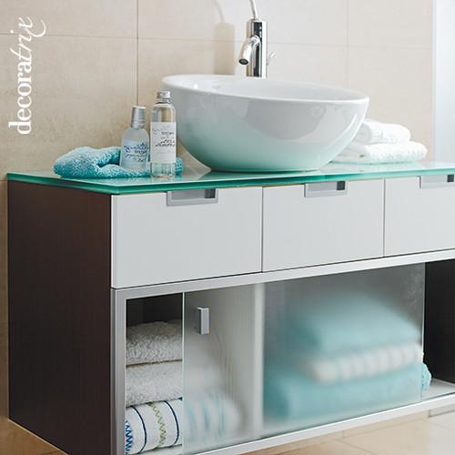 mueble de lavabo en madera y cristal with muebles de bao de cristal