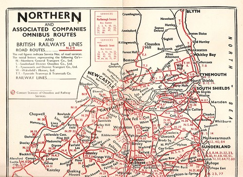 Northern General Transport bus route map northern section 1953