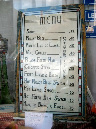 Sweet Shop Menu ca. 1933