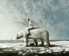 a free ride (Mattijn) Tags: bear sea fish snow rock cat ride free surreal arctic polarbear photomontage photoart rhenen magicrealism